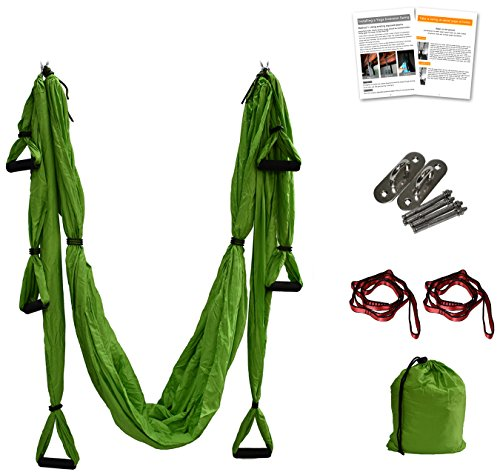 Aerial Yoga Swing - Anti-Gravity Yoga Hammock Swing Straps Inversion Tool, 2 Daisy Chain Adjustable Straps and Hooks,pose guide (Green)