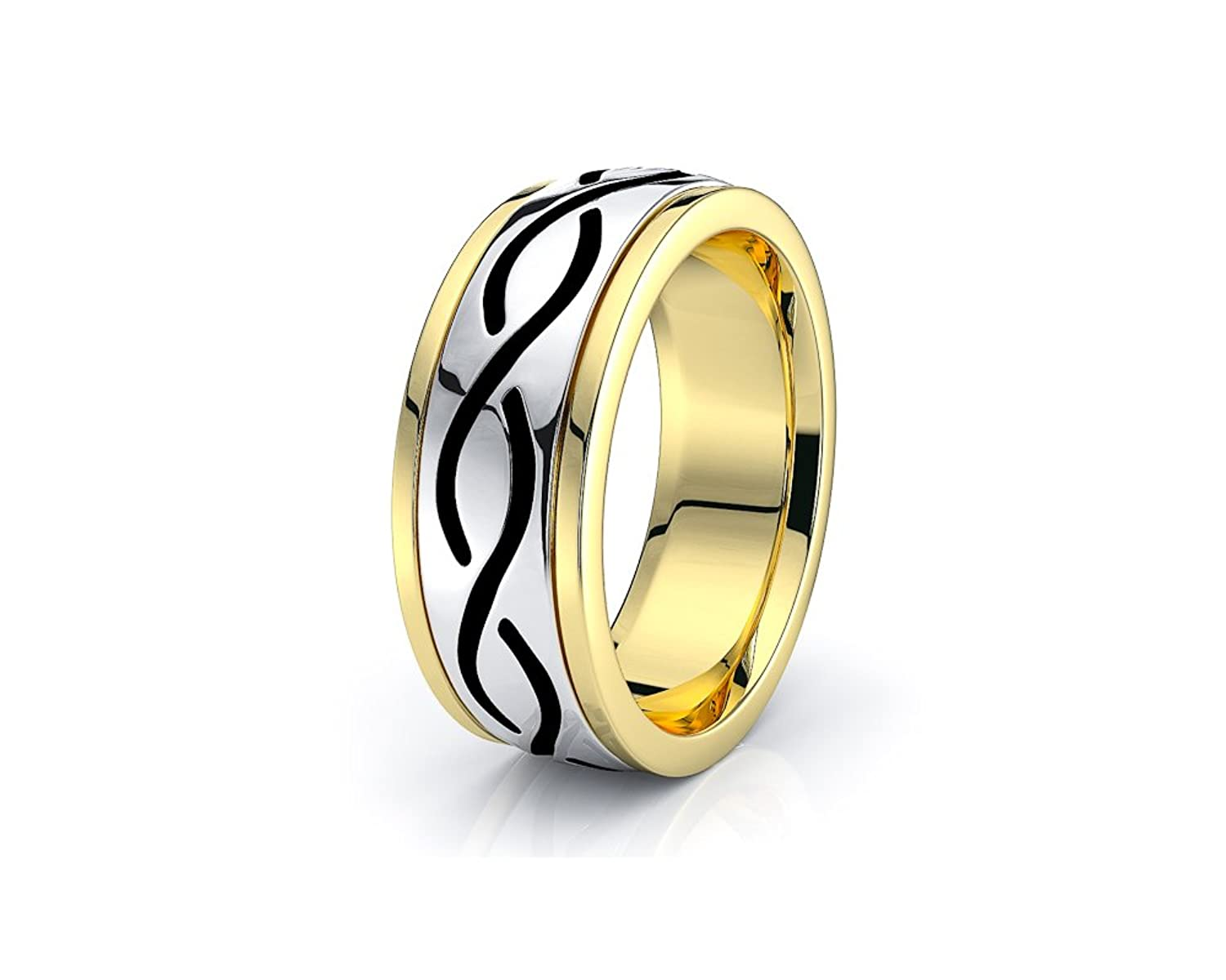 10K White Yellow Gold 7mm Infinity Celtic Knot Wedding Band Rings Black Nano Plated
