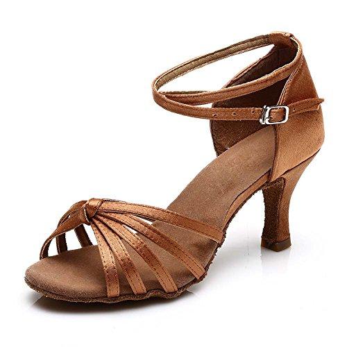 HROYL Zapatos de baile/Zapatos latinos de satén mujeres ES7-F17 7CM Marrón