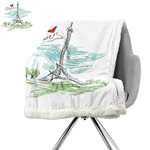 ScottDecor Paris Blanket Small Quilt,Touristic Colorful Sketch of Eiffel Tower in Paris French Style Travel Illustration,Multicolor,Print Digital Printing Blanket W59xL78.7 ()
