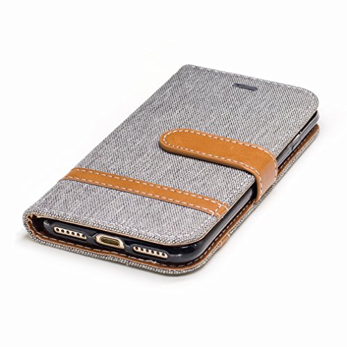 Yiizy Apple IPhone 7 Cover Custodia, Modello Del Cowboy Design Silicone Custodia Flip Cover Portafoglio PU Pelle Cuoio Copertura Case Slot Schede Cavalletto Stile Libro Bumper Protettivo Borsa (Grigio