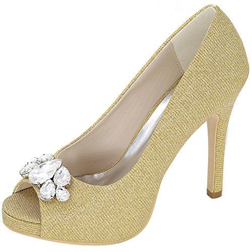 Loslandifen Womens Peep Toe Pumps Raso Strass Encrusted Stiletto Tacco Alto Scarpe Da Sposa Oro Glitter Oro
