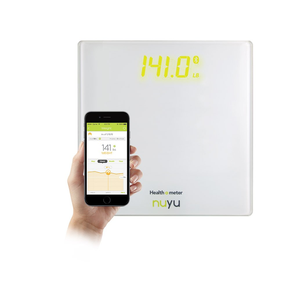 Health o meter nuyu Wireless Connected Scale with Auto-Pairing, BMI Tracking and Disappearing LED Screen, White