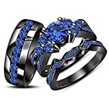 ArtLine Jewels His & Her's Wedding Trio Ring Set 14k Real Black Gold Plated Round Blue Sapphire (7)