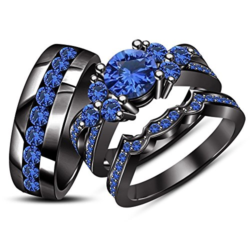 ArtLine Jewels His & Her's Wedding Trio Ring Set 14k Real Black Gold Plated Round Blue Sapphire (7) by ArtLine Jewels