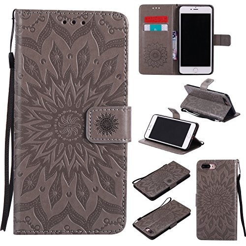 Price comparison product image iPhone 7 Plus Wallet Case, A-slim(TM) Sun Pattern Embossed PU Leather Magnetic Flip Cover Card Holders & Hand Strap Wallet Purse Case for iPhone 7 Plus [5.5 Inch] - Gray