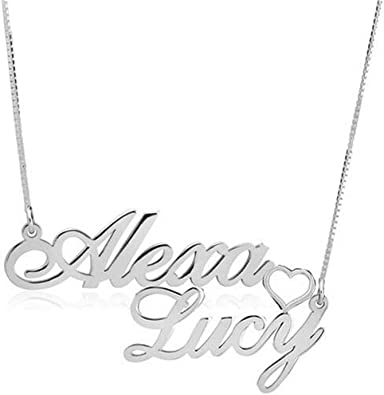 Saalort Personalized 925 Sterling Silver Couple Nameplate Necklace Customized Name Necklaces