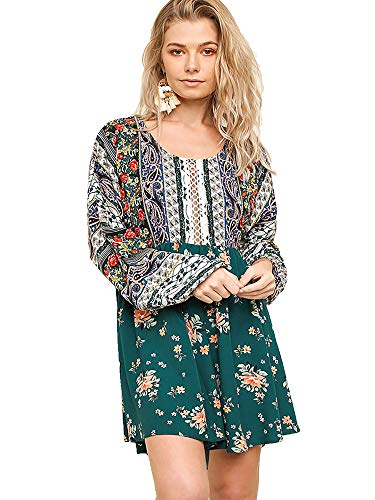Sleeve Floral Dress Multi Forest Womens Mix Print Long Puff Umgee cUFnYvEwqF