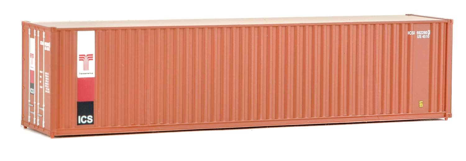 Walthers SceneMaster 40' Hi-Cube Corrugated Container w/Flat Roof Transamerica - Assembled Train Collectable Train