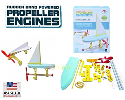 eSmart Cute Sunlight 2 in 1 Rubber Band Powered Propeller Engines Kit Science DIY Popular Puzzle Assembly Toys Great for Kid Learning Science Gift