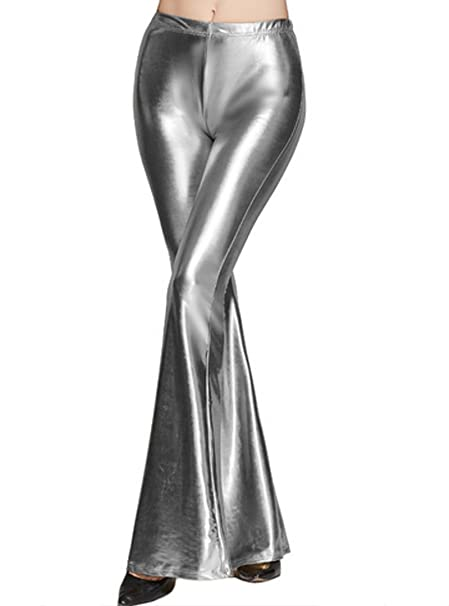 37252be8b53 Adela Boutique Women Wide Leg Pants Metallic High Waist Stretchy Bell  Bottom Flared Pants at Amazon Women s Clothing store