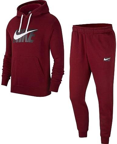 Nike Chándal Sportswear CE TRK Suit HD Fleece Burdeos M (Medium ...