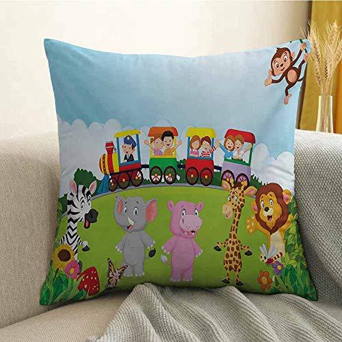 - Cartoon Bedding Soft Pillowcase Kids Nursery Design Happy Children on a Choo Choo Train with Safari Animals Artwork Hypoallergenic Pillowcase W16 x L16 Inch Multicolor