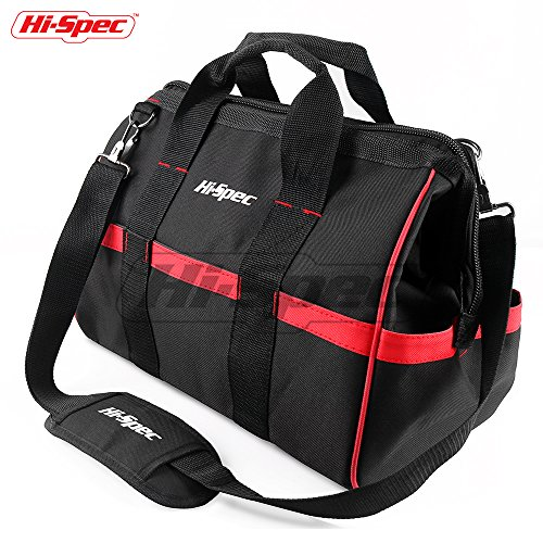 Hi-Spec Heavy Duty Wide Mouth Tool Bag with Thick Base, 20 Interior/Exterior Pockets, Adjustable Shoulder Strap, 600D Reinforced Material for Home DIY & Professional Use Tool & Equipment (4' Side Pocket)