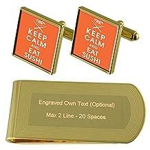 Sushi Gold-tone Cufflinks Money Clip Engraved Gift Set