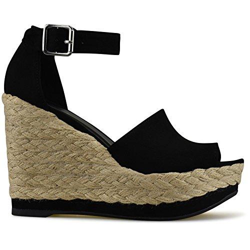 Toe S Strap Sandals Buckle Espadrille Standard Premier Wedge Black Peep Women's Ankle TnxwXtSqg
