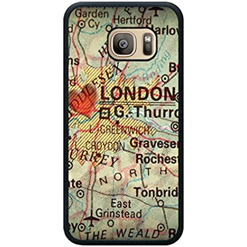 Minffc Unique With Antique Map With A Heart Over The City Of London In England Grea Photograph Protective Case Cover For Samsung Galaxy S7 Sales