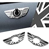 iJDMTOY (2) Union Jack Style Wing Emblem Rings For MINI Cooper R60 Countryman R61 Paceman Door Lock Knobs, Black/Grey UK…
