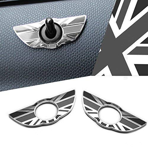 iJDMTOY (2) Union Jack Style Wing Emblem Rings For MINI Cooper R60 Countryman R61 Paceman Door Lock Knobs, Black/Grey UK Flag Design -