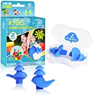 Hearprotek 2 Pairs Ear Plugs for Swimming Kids, Soft Silicone Reusable Kids Swim earplugs for Bathing and Othe