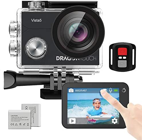 Dragon Touch Vista 5 Action Camera Native 4K 20MP Ultra HD Touch Screen EIS 4X Zoom Remote Control WiFi Waterproof Camera Support External Mic 2x 1350mAh Batteries and Mounting Accessories Kit Black