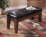 Lairecmont Casual Burnished Dark Brown Color Large Upholstered Dining Room Bench