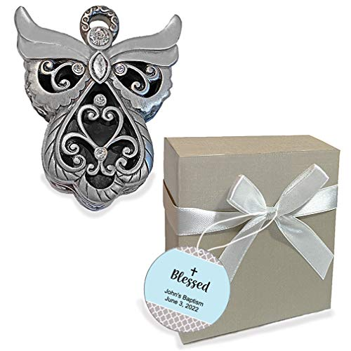 Personalized Baptism Favors, 1st Communion Gifts, Recuerdos de Bautizo, Quinceanera, Confirmation, Party Souvenirs, Angel Curio Box, Christening Decorations for Girls and Boys, Set of 12