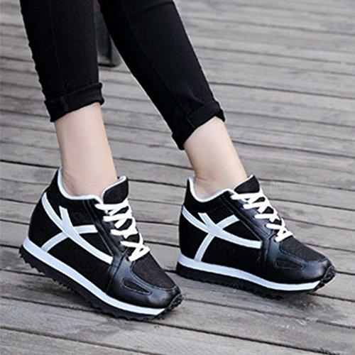 Giy Kvinna Höga Bästa Mode Sneakers Snörning Kilar Plattform Rund Tå Dold Häl Tillfälliga Gymnastiksko Skor Svart
