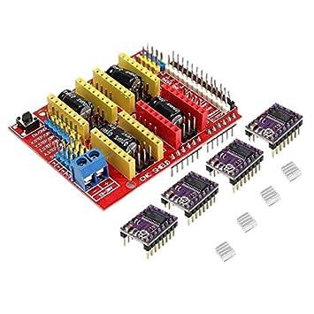CUHAWUDBA CNC Shield + 4 X Drv8825 Kit de Controlador para ...