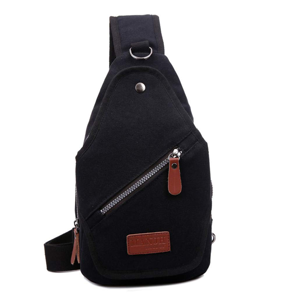 Casual Men Chest Bag Canvas Crossbody Bags Vintage Messenger Bag Men Shoulder Sling Bag Men Chest Pack Black W19H31D9CM
