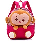LORJE Kids Gift Ideas for Kids Boys Girls Canvas School Bag Animal Cartoon Backpack Satchel School Book Bag (Rose red)