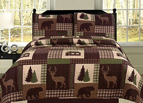 King Quilt 2 Piece Set Rustic Cabin Lodge Deer and Bear Coverlet (Cottage Iron Bed)