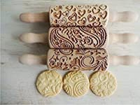 LOVELYDAY, 3 KIDS Rolling pin SET Wooden Laser Cut Mini Rolling Pins for cookies, play dough, salt dough or clay