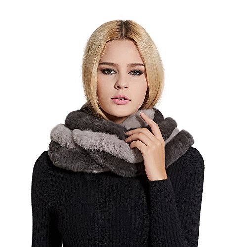 (Women's Real Fur Infinity Scarf with Genuine Rex Rabbit Fur Warm Shawl Scarves (Black and gray) - Fur Story)