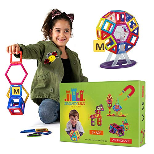 Magnetic Blocks for Kids – 222 Magnetic Building Blocks, Storage Box – Nontoxic, BPA-Free Magnetic Tiles with Strong Natural Magnets – Educational Building Blocks for Ages 5 Plus by Magnetic Lan