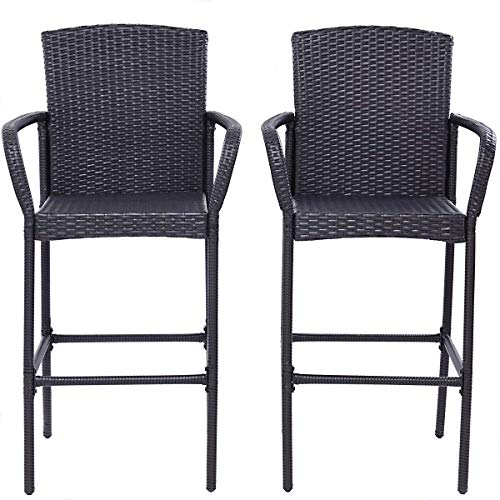 Tangkula Set of 2 Patio Bar Stools Indoor Outdoor Use Wicker Rattan Barstool with Footrest for Garden Pool Lawn Backyard Study Steel Frame Bar ChairsFurniture (Dark Brown 48.5