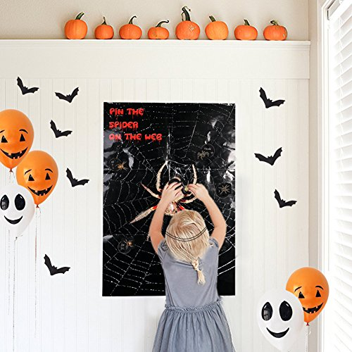 (PartyTalk Halloween Party Games Pin The Spider on The Web Game for Family Friendly Adult Drinking Games Version and Halloween)