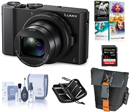 Panasonic Lumix DMC-LX10 4K Digital Point and Shoot Camera, 20.1 Megapixel 1-inch Sensor Bundle with Camera Bag, 32GB SD Card, SD Card Case, PC Software Kit, Cleaning Kit