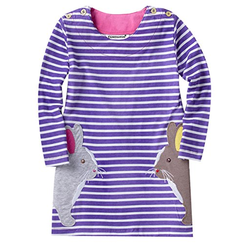 LZH Girls Pure Cotton Longsleeve Casual Dresses Striped Applique Autumn Winter T-shirt (Pure Cotton Applique)