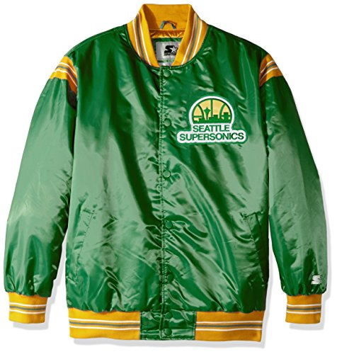 STARTER NBA Seattle Supersonics Men's The Enforcer Retro Satin Jacket, 6X, Green