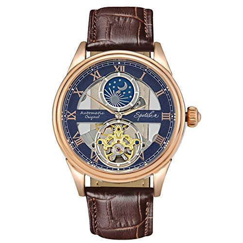 Men's Mechanical Watch Automatic Skeleton Dial Moon Phase Waterproof Analogue Self-Wind Wrist Watch with Classic Brown Leather Band ()