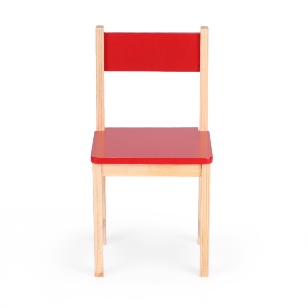 IKAYAA Wooden Kids Chair Stacking School Chair Furniture 6 Colors Available, Red H16477R