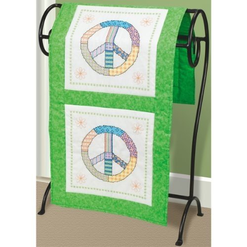 Janlynn Stamped Cross Stitch Quilt Blocks, Peace (Peace Sign Fabric)