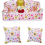 Shuohu Lovely Mini Dollhouse Furniture Flower Print Sofa Couch with 2 Cushions for Barbie Dolls