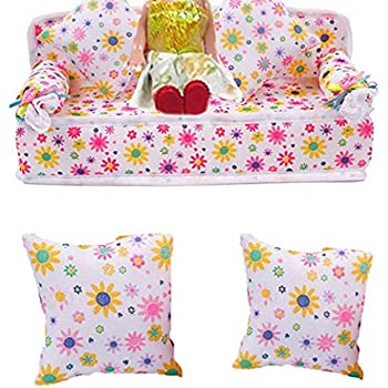 Mini Furniture Flower Fabric Sofa Couch 2 Cushions for Doll House Accessories