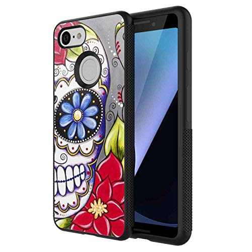 Phone Case Fits for Google Pixel 3 [5.5-Inch] Flower Sugar Skull ()