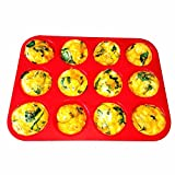 LetGoShop Nonstick Silicone Cupcake Liner 12-Cup Reusable Muffin Pan, Red