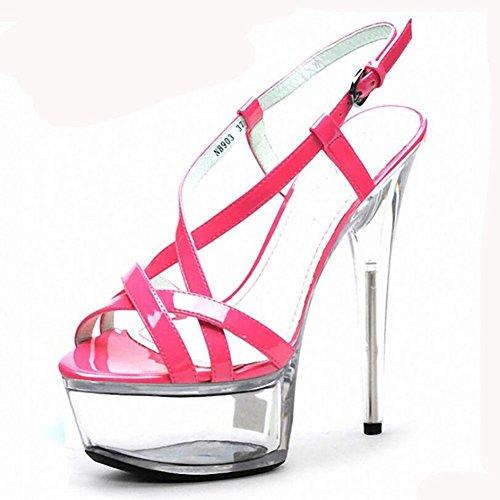 Sandales Summer Fashion creux type boucle de ceinture Superfine haut Heeled Nightclub des femmes , rose red , 37