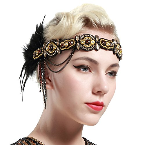 BABEYOND 1920s Flapper Headband Roaring 20s Beaded Gatsby Headpiece Black Feather Headband 1920s Flapper Gatsby Hair Accessories Gold