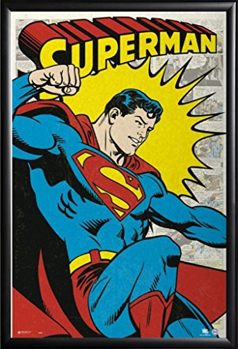Framed DC Comics - Superman - Classic 24x36 Poster in Basic Black Detail Wood Frame (Superman Picture Frame)